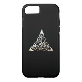 Diseño céltico del nudo de los espirales negros de funda iPhone 7