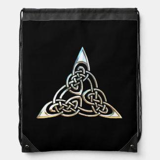 Diseño céltico del nudo de los espirales negros de mochilas