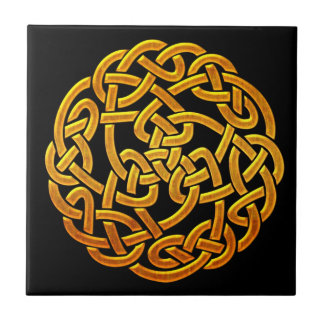 Diseño céltico irlandés de oro céltico D1 Azulejo Cuadrado Pequeño