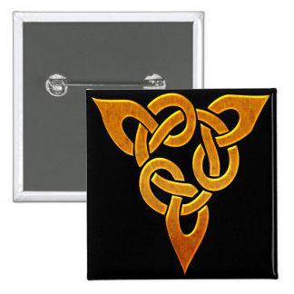 Diseño céltico irlandés de oro céltico D3 Pin Cuadrada 5 Cm