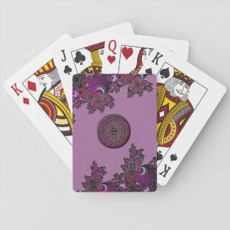 Diseño céltico rosado oscuro del fractal cartas de póquer