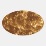 diseño cepillado oro del metal 038.JPG Pegatina Ovalada