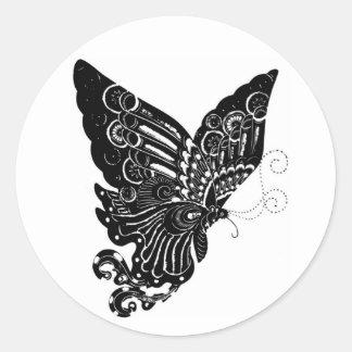 Diseño chino de la mariposa del Papel-Cut - Pegatinas Redondas