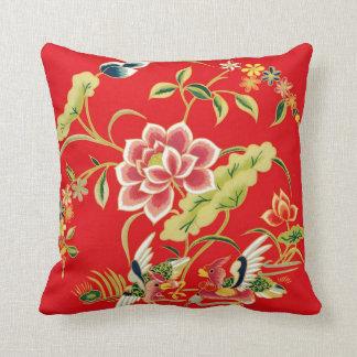 Diseño chino del bordado de flores cojín