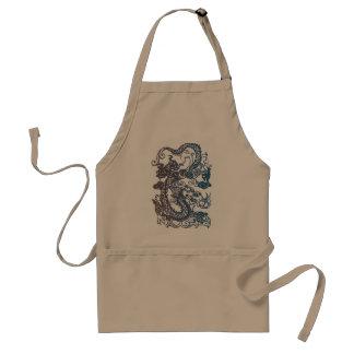 Diseño chino del dragón en el delantal del cociner