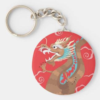 Diseño chino del dragón llavero redondo tipo pin