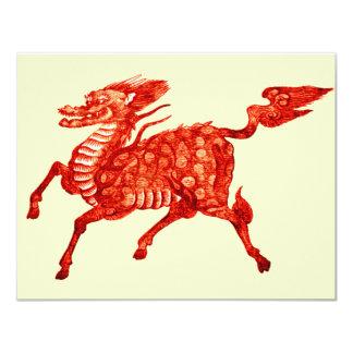 """Diseño chino *Mythical del dragón de Beast* Invitación 4.25"""" X 5.5"""""""