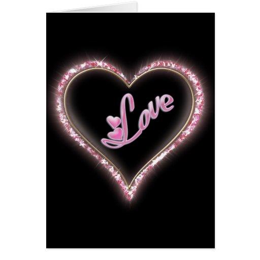 """Diseño chispeante """"del corazón Jeweled amor Tarjeta De Felicitación"""