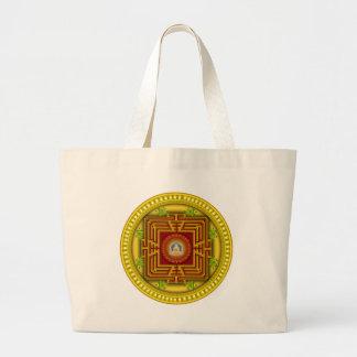 Diseño circular de la mandala de la caja de oro bolsa tela grande