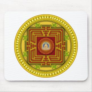 Diseño circular de la mandala de la caja de oro alfombrilla de ratón