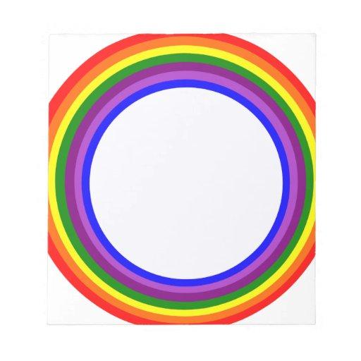 Diseño circular del arco iris bloc de papel