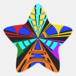 Diseño circular del verde anaranjado moderno del r pegatinas forma de estrellaes