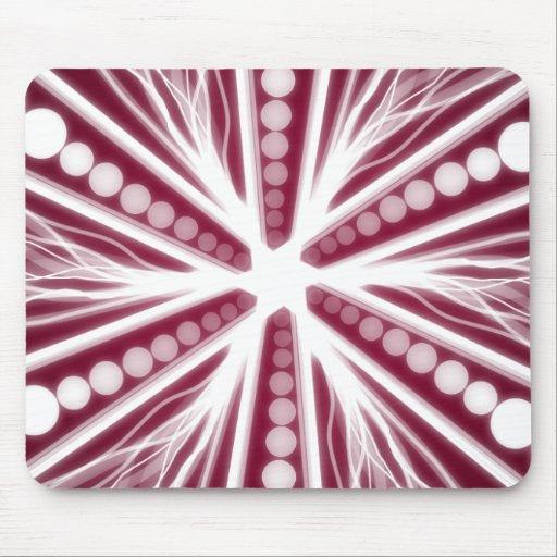 Diseño circular gráfico rojo y blanco alfombrilla de raton