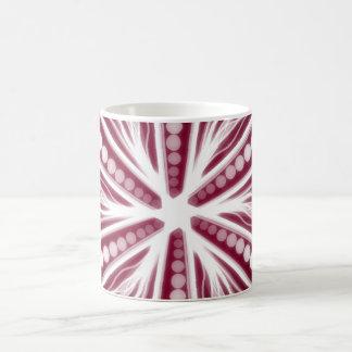 Diseño circular gráfico rojo y blanco taza de café