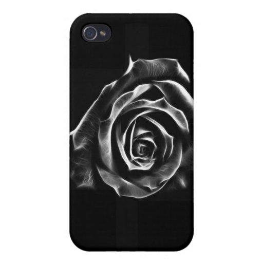 Diseño clásico color de rosa negro iPhone 4 fundas