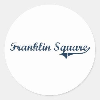 Diseño clásico cuadrado de Franklin Nueva York Pegatina Redonda