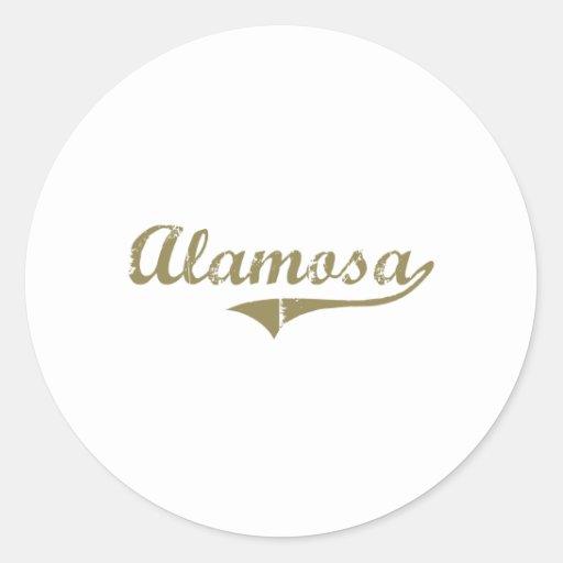 Diseño clásico de Alamosa Colorado Pegatina Redonda
