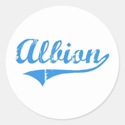 Diseño clásico de Albion Maine Etiquetas Redondas