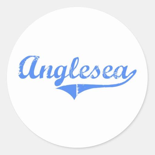 Diseño clásico de Anglesea New Jersey Pegatina Redonda