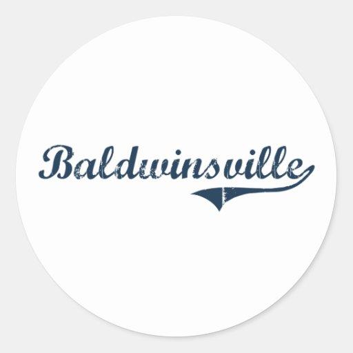 Diseño clásico de Baldwinsville Nueva York Pegatina Redonda