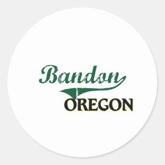 Diseño clásico de Bandon Oregon Pegatina Redonda