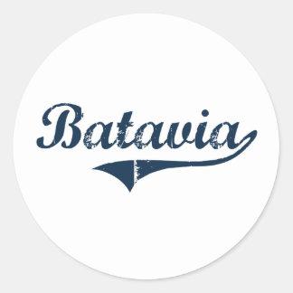 Diseño clásico de Batavia Nueva York Etiquetas Redondas