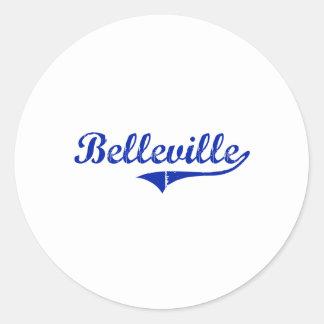 Diseño clásico de Belleville Kansas Etiquetas Redondas