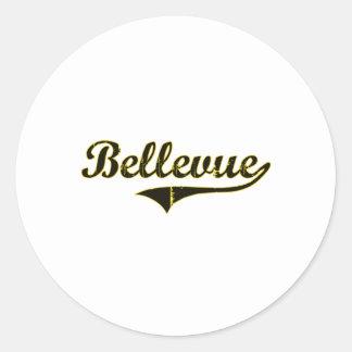 Diseño clásico de Bellevue Iowa Pegatinas Redondas