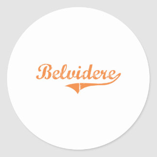Diseño clásico de Belvidere Illinois Pegatina Redonda