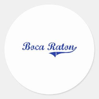 Diseño clásico de Boca Raton la Florida Etiqueta Redonda