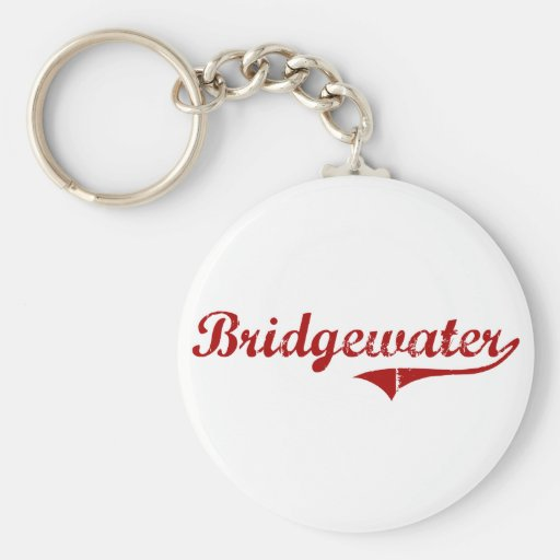 Diseño clásico de Bridgewater Massachusetts Llavero Redondo Tipo Pin