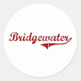 Diseño clásico de Bridgewater Massachusetts Etiquetas Redondas