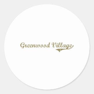 Diseño clásico de Colorado del pueblo de Bosque Etiquetas Redondas
