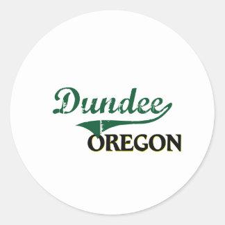 Diseño clásico de Dundee Oregon Etiqueta Redonda