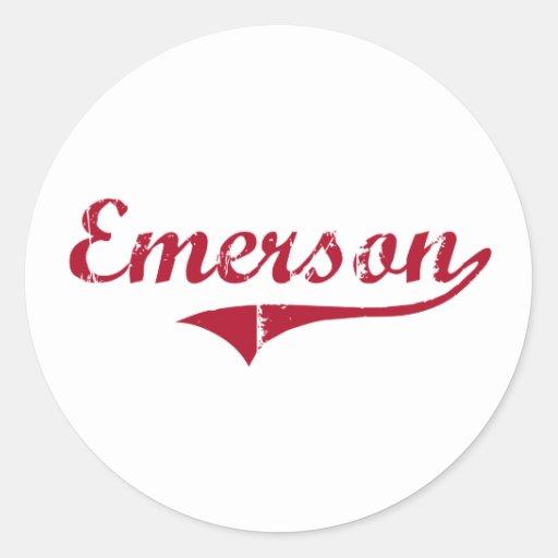 Diseño clásico de Emerson New Jersey Etiquetas Redondas