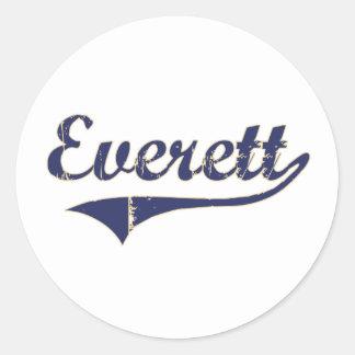 Diseño clásico de Everett Washington Pegatina Redonda