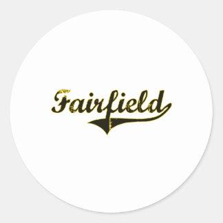 Diseño clásico de Fairfield Iowa Pegatina Redonda