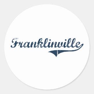 Diseño clásico de Franklinville Nueva York Pegatina Redonda