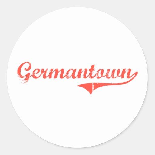 Diseño clásico de Germantown Maryland Etiqueta Redonda