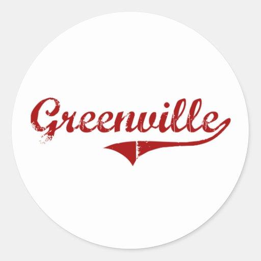 Diseño clásico de Greenville Carolina del Sur Pegatina Redonda