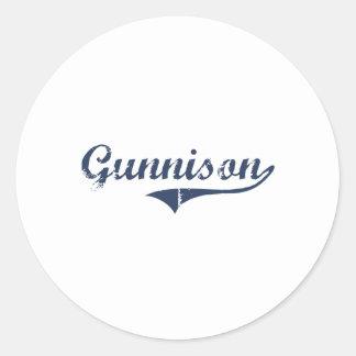 Diseño clásico de Gunnison Utah Etiqueta Redonda