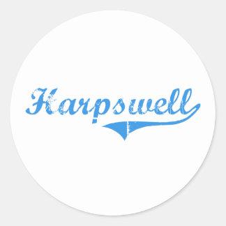 Diseño clásico de Harpswell Maine Pegatina Redonda