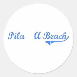 Diseño clásico de Hawaii de la playa de Pila A Etiqueta
