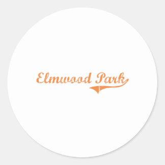 Diseño clásico de Illinois del parque de Elmwood Etiqueta Redonda