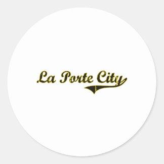 Diseño clásico de Iowa de la ciudad de Porte del Pegatina Redonda