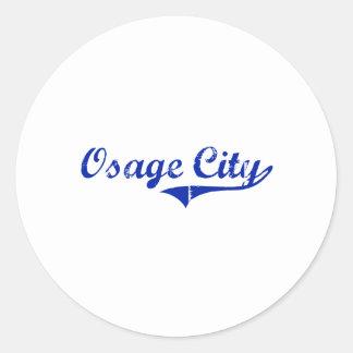 Diseño clásico de Kansas de la ciudad de Osage Pegatina Redonda
