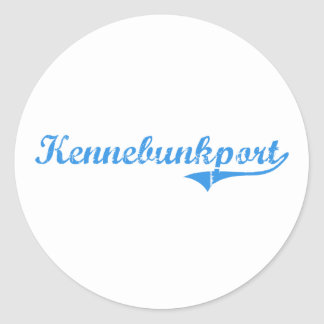 Diseño clásico de Kennebunkport Maine Pegatina Redonda