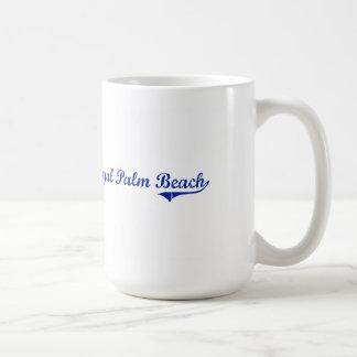 Diseño clásico de la Florida del Palm Beach real Taza Básica Blanca