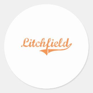 Diseño clásico de Litchfield Illinois Pegatina Redonda