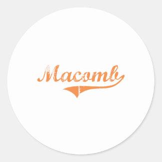 Diseño clásico de Macomb Illinois Pegatina Redonda